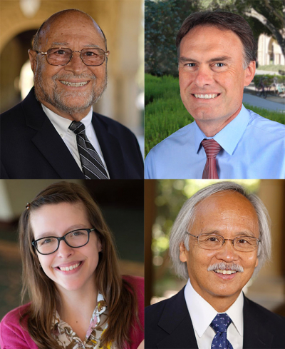 This year's alumni award recipients are (clockwise from top left) David Berliner, Jeff Gilbert, Gary Mukai and Kirstin Milks.