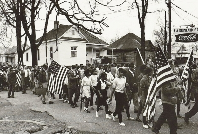Participants marching in the civil rights march from Selma to Montgomery, Alabama in 1965 (Library of Congress)
