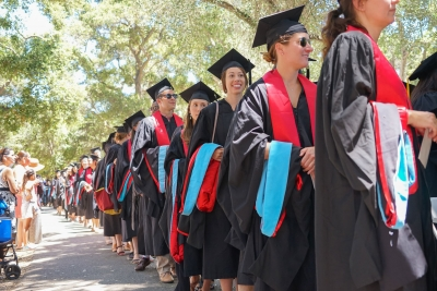 GSE graduates line up for Diploma Ceremony.