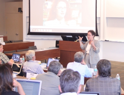 Linda Darling-Hammond, professor emeritus of education, lectures to district leaders in an EPEL session. (Photo: Marc Franklin)