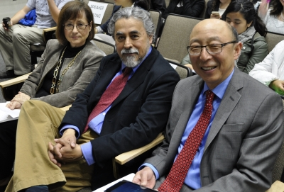 """Professors Guadalupe Valdes, Guillermo Solano-Flores and Kenji Hakuta at """"Latin@s in STEM"""". (Photos: Brooke Donald)"""