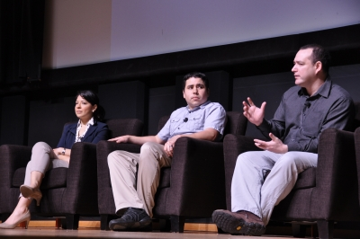 "Liliana de la Paz, Osvaldo Jimenez and Juan Rivas-Davilla at ""Latin@s in STEM."""