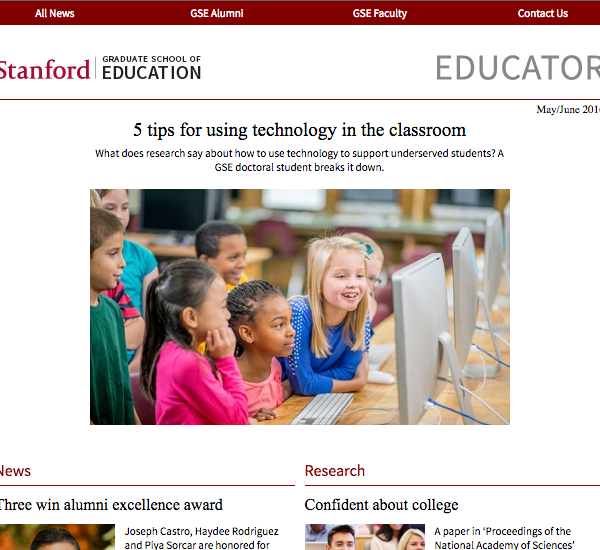 Screenshot of Stanford GSE Educator Vol. 3 Issue 3