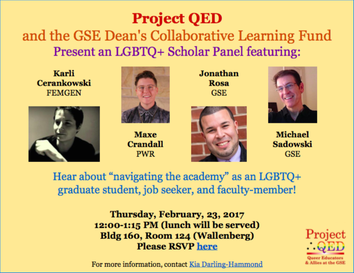 Project QED and the GSE Dean's Collaborative Learning Fund Present an LGBTQ+ Scholar Panel