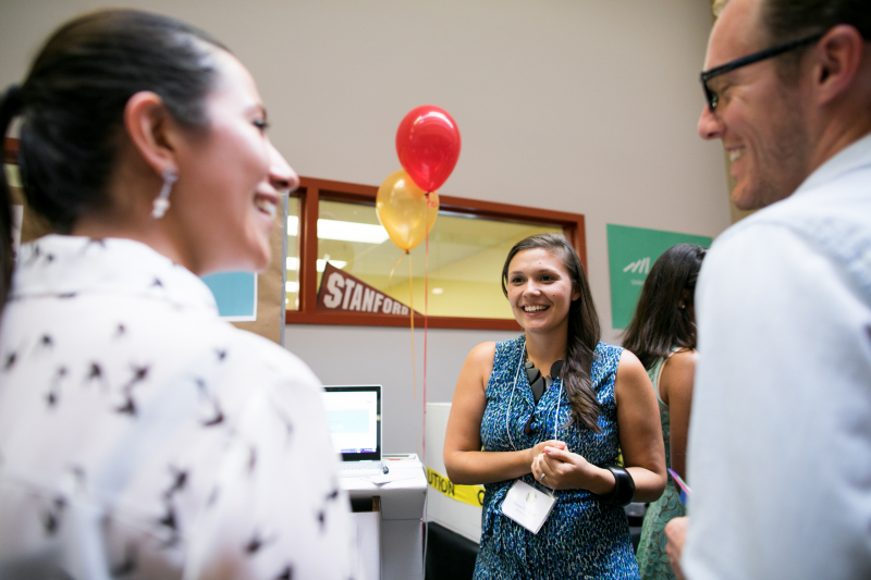 Tessa Forshaw (center) was part of a student team that developed PeopleMap, which creates visualizations of the skills in users' résumés and LinkedIn profiles to help them translate their experience to the future of work.