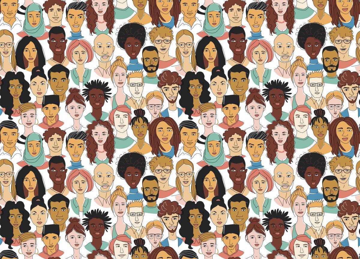 Image of many faces reflecting diversity
