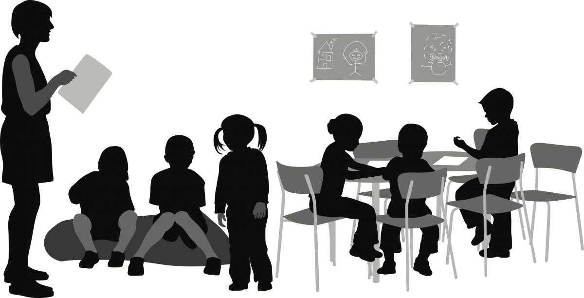 Illustration of preschool teacher and class
