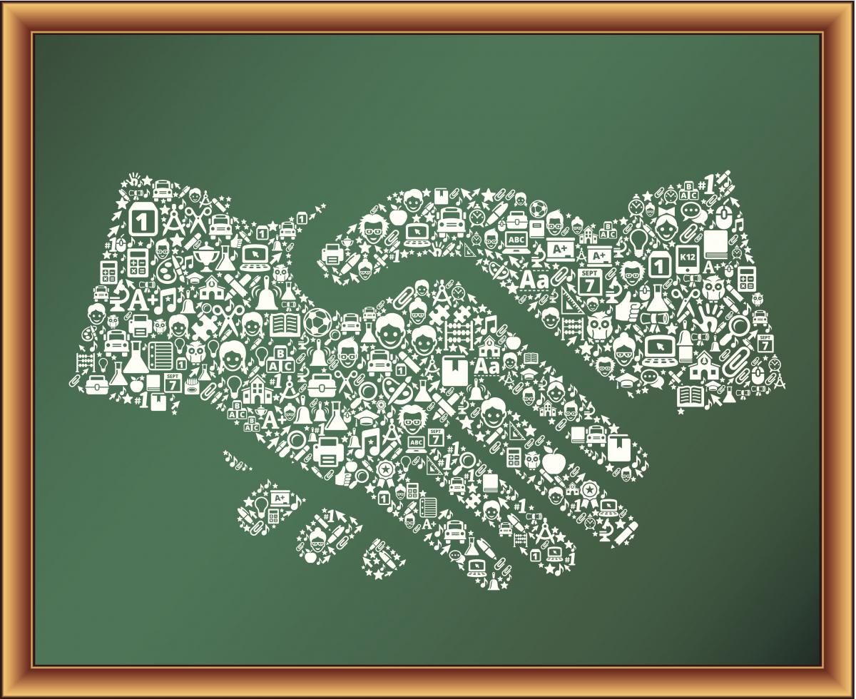 Illustration of handshake on a chalkboard
