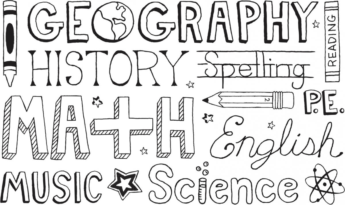 "Illustration of the words ""Geography,"" ""History,"" ""Math"" and other school subjects"