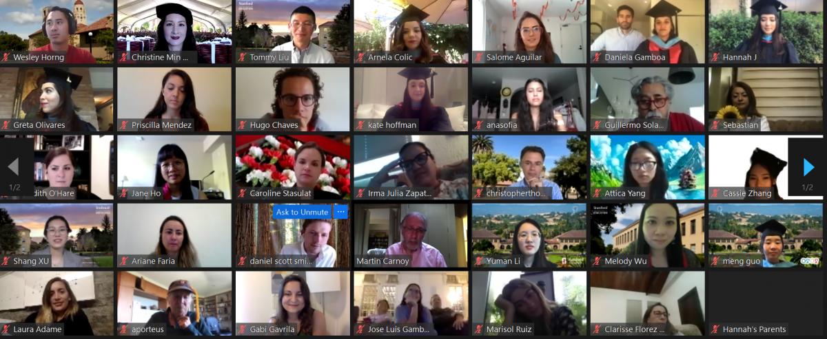 Screenshot of attendees on a Zoom conference call.