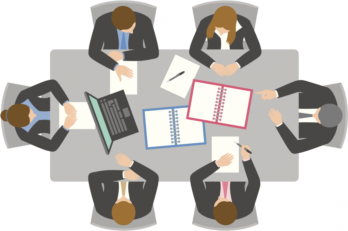 Illustration of policymakers working together at a table