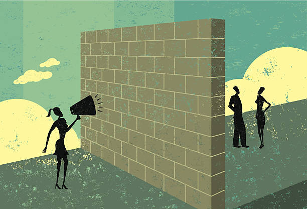 Image of teen girl with megaphone talking to parents behind a wall