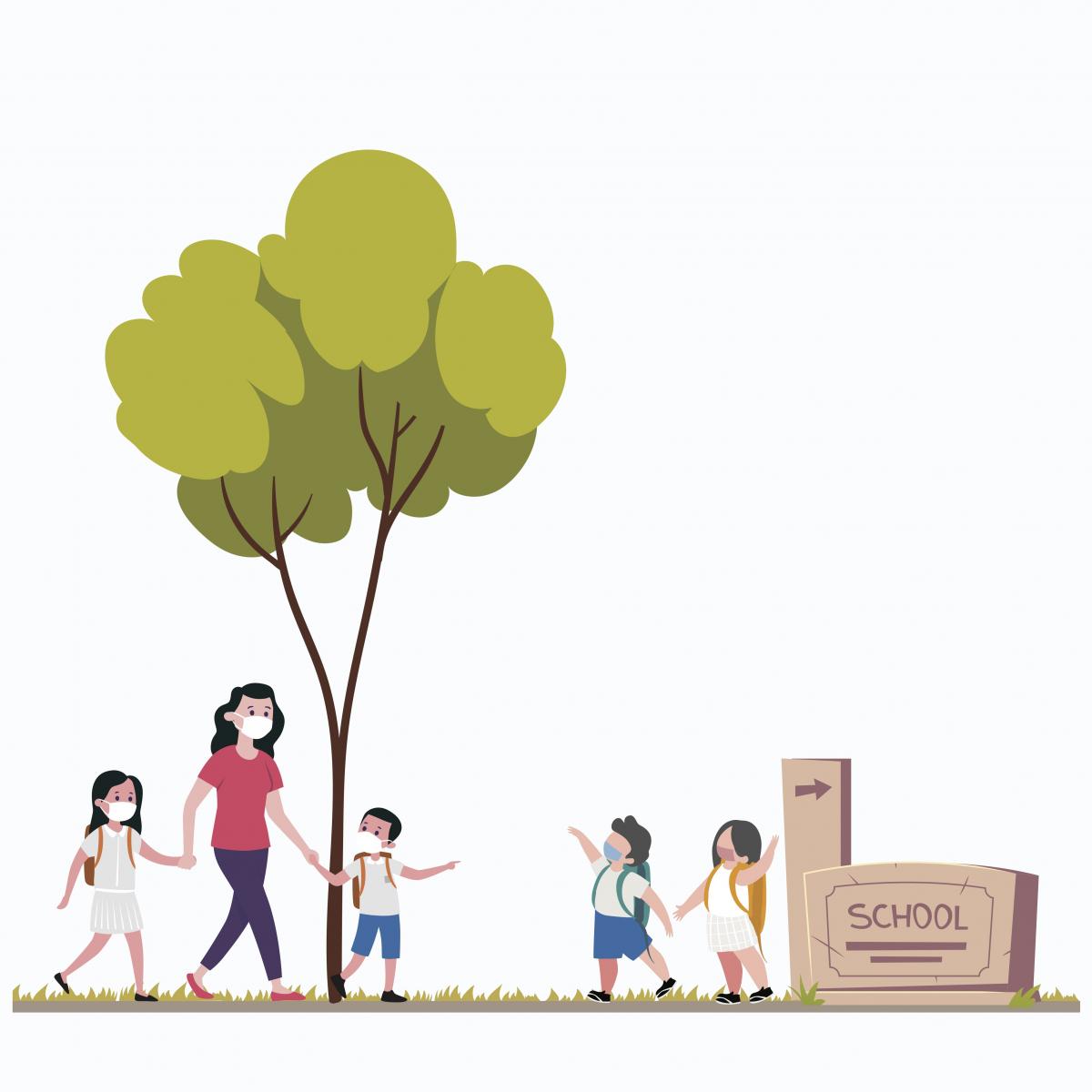 Illustration of kids walking to school
