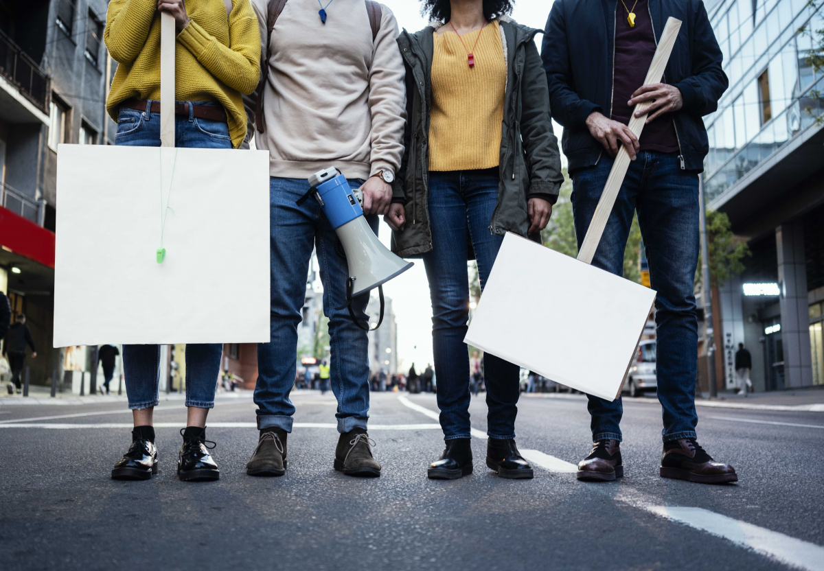 Teens protesting