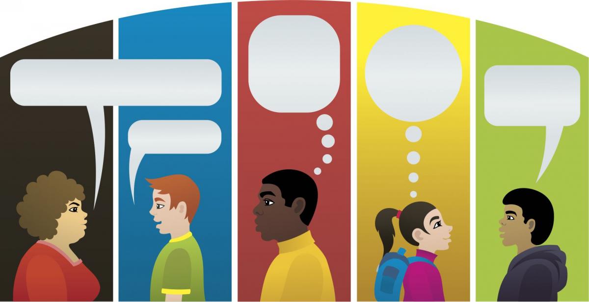 Multilingual speakers with empty speech bubbles