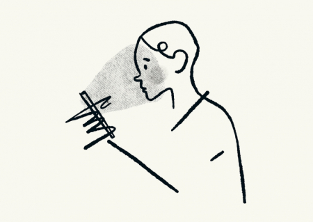 Line sketch of a person looking at a screen