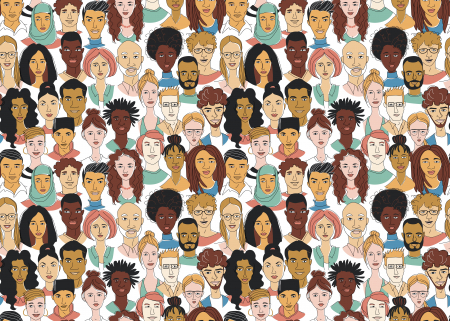 Image of many faces reflecting diversity