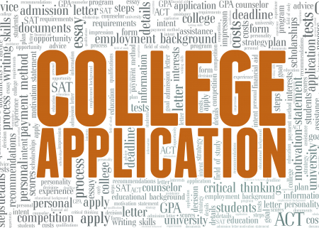 Illustration of a word cloud of terms associated with college applications