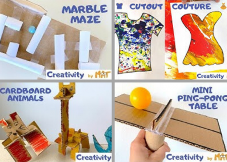 A collage of different hands-on project ideas for kids