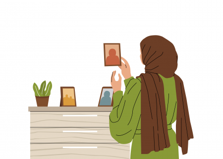 Image of woman looking at photographs