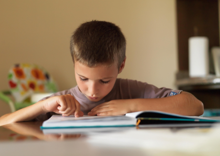 Young boy focused on reading