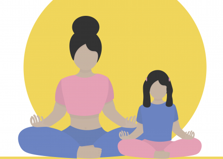 Illustration of woman and young girl meditating