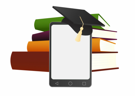 Graphic illustration with a stack of books and a tablet with a graduation cap