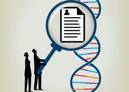 Image of people taking information from a double helix