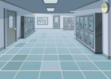 Illustration of a high school corridor