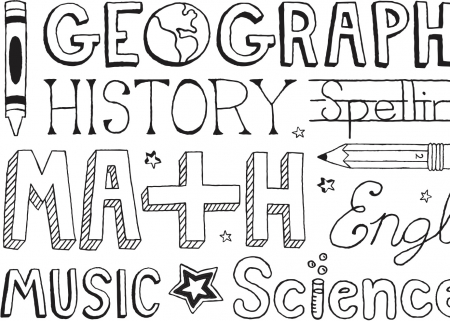 """Illustration of the words """"Geography,"""" """"History,"""" """"Math"""" and other school subjects"""