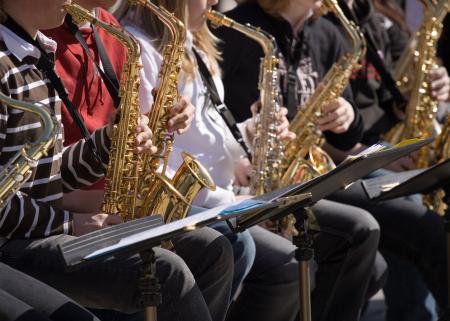 Photo of young people playing saxofon