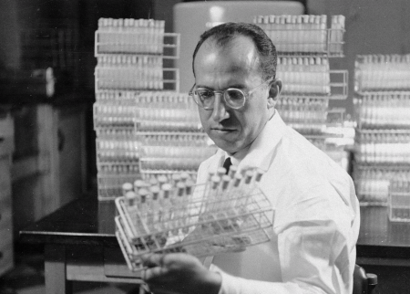 Jonas Salk, developer of a polio vaccine, in his lab in Pittsburgh, 1954 (AP)