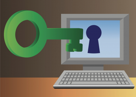 Image of a key opening access to a computer