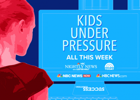 """Illustration of young woman at a computer screen that says, """"Kids under pressure"""" and shows logos of NBC News shows and Challenge Success"""