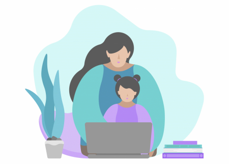 Illustration of a mother with a child at a laptop