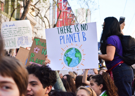 Photo of students protesting for climate change action