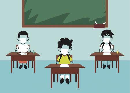 Illustration of school children at desks with masks and social distancing
