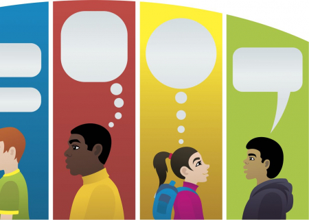 Multilingual speakers with empty speech bubbles