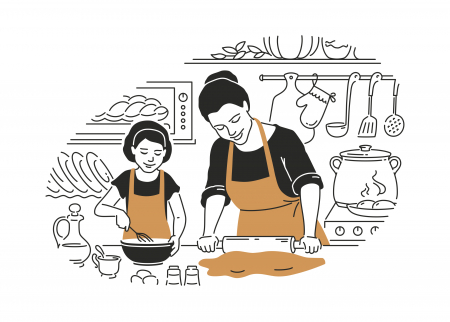 Image of mother cooking with daughter