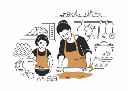 Illustration of a mother and child cooking together