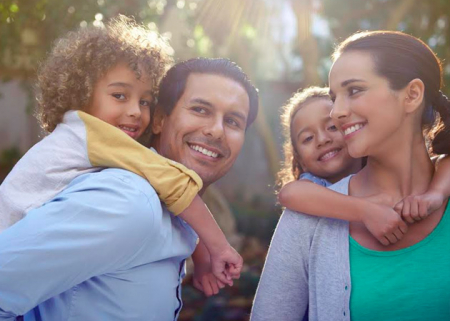 Happy family with two kids outside