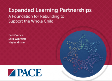 """Title plate that reads """"Expanded learning partners: A foundation for rebuilding to support the whole child"""""""
