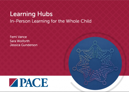 """Title plate with """"Learning hubs: In-person learning for the whole child"""""""
