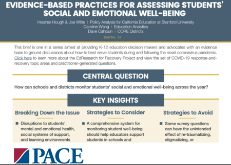 The heading and top part of a practice brief about assessing student well-being