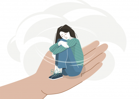 Illustration of a sad young woman in a helpful hand