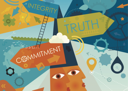 """A graphic that represents ethical decision making and says """"integrity,"""" """"truth,"""" and """"commitment"""""""