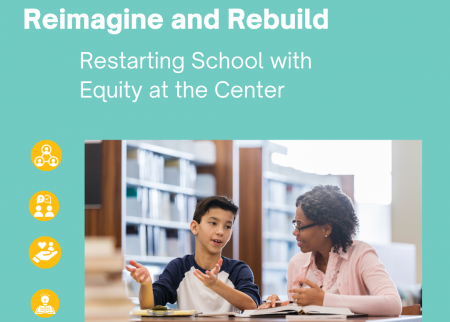 A graphic with a photo of a teacher and student, and icons for the five actions to rebuild