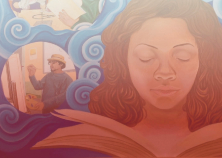 Mural image of a woman with a book dreaming of different possibilities