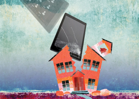 Illustration showing a classic schoolhouse being shattered by an iPad and a screen with Zoom visible.