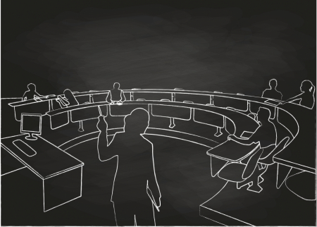 A line drawing of a sparsely-attended lecture hall